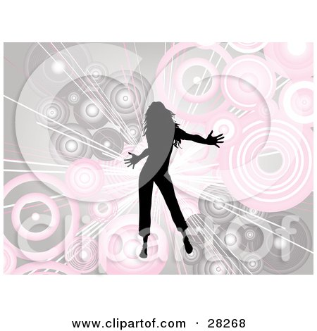 Clipart Illustration of a Silhouetted Black Woman Dancing Over A Bursting Background Of Pink And Beige Circles by KJ Pargeter