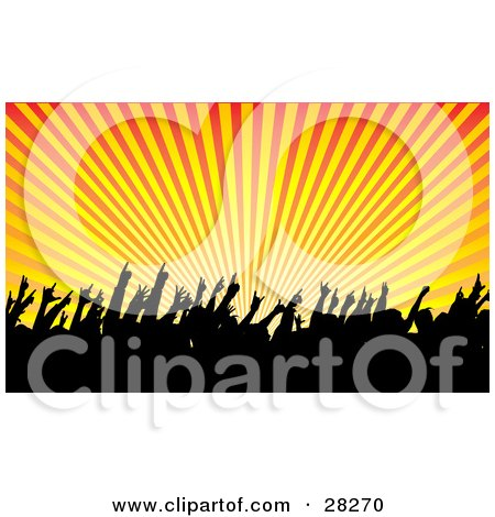 Clipart Illustration Of A Silhouetted Audience Waving Their Hands In The Air In A Concert Over A Bursting Orange And Yellow Background