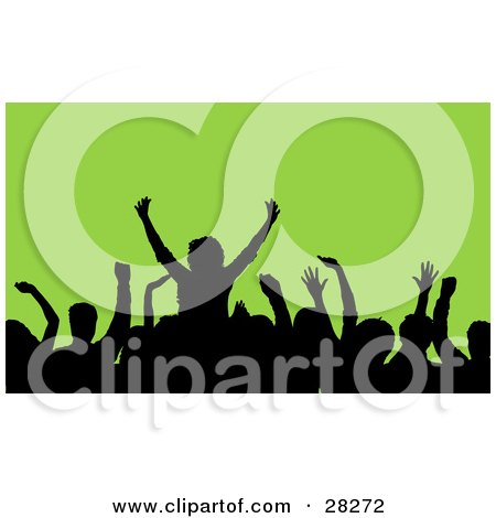 Clipart Illustration Of A Silhouetted Crowd Waving Their Hands In The Air At A Music Concert Over A Green Background