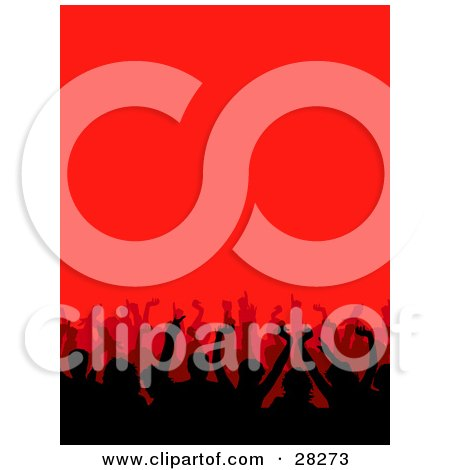 Clipart Illustration Of A Silhouetted Audience Waving Their Hands In A Concert Over A Red Background