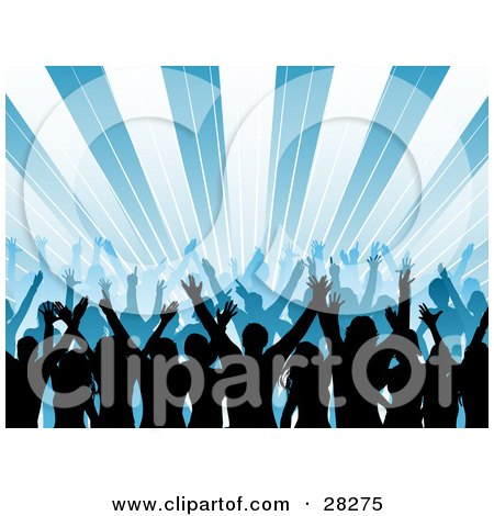 Clipart Illustration Of A Silhouetted Audience Waving Their Hands In The Air At A Concert Over A Bursting Blue Background