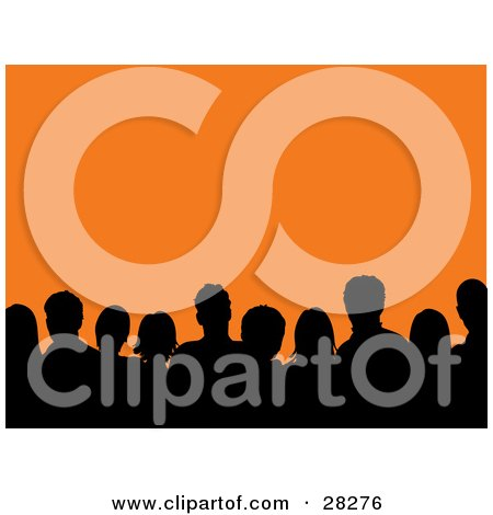 Clipart Illustration Of A Silhouetted Audience Of Men And Women Against An Orange Background