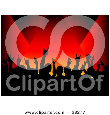 Clipart Illustration Of A Silhouetted Crowd Waving Their Hands In In The Air Near A Stage Over A Red Background