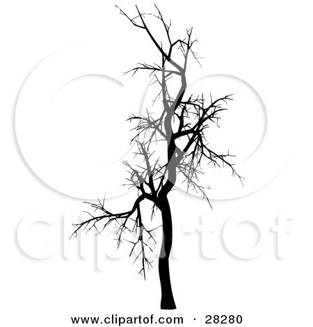 Clipart Illustration of a Black Silhouetted Bare Leafless Tree In Winter by KJ Pargeter