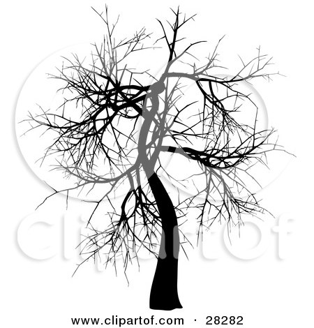 Clipart Illustration of a Silhouetted Bare Black Tree In Winter by KJ Pargeter