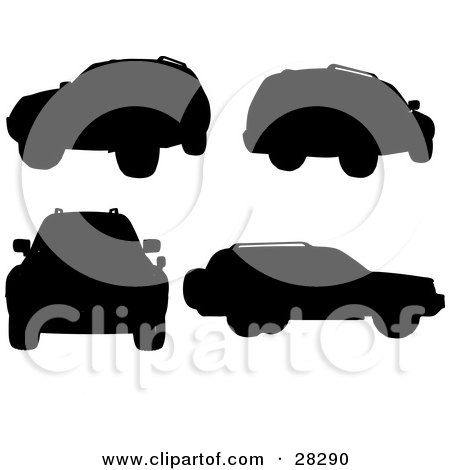 Clipart Illustration of a Black Silhouetted Sport Utility Vehicle In Different Positions Over A White Background by KJ Pargeter