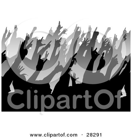 Clipart Illustration Of Rows Of Black And Gray Silhouetted People Holding Their Hands Up In A Crowd At A Music Concert
