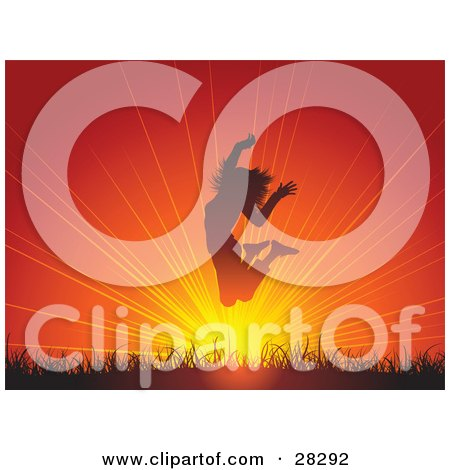 Clipart Illustration of a Happy And Energetic Woman Jumping Above Grass At Sunset by KJ Pargeter