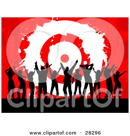 Clipart Illustration of a Group Of Black Silhouetted Men And Women Dancing In Front Of A Red Grunge Background With A White Bullseye Target, Symbolizing Success And Achievement by KJ Pargeter
