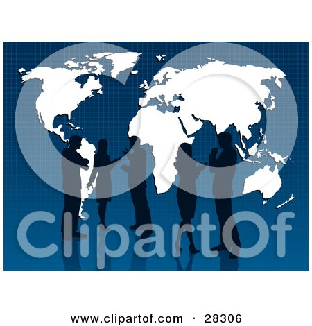 Clipart Illustration of Businessmen And Women Discussing, Silhouetted Against A White Map With A Blue Grid Background by KJ Pargeter