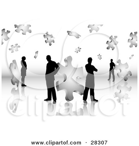 Clipart Illustration of Black Silhouetted Business Men And Women Standing On A Reflective Surface, Surrounded By Puzzle Pieces, Symbolizing Problem Solving, Teamwork And Solutions by KJ Pargeter