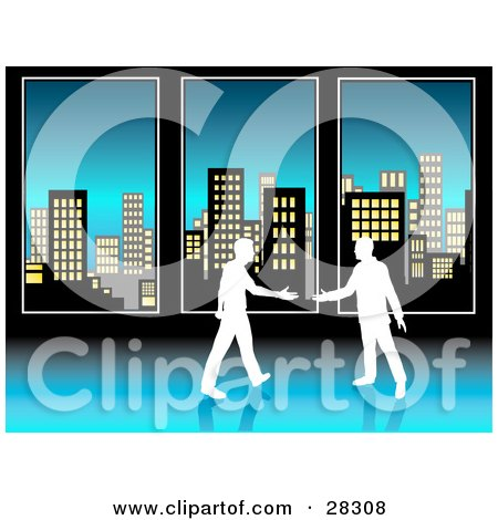 Two White Silhouetted Businessmen Preparing To Shake Hands In Front Of Tall Office Windows Overlooking City Skyscrapers Posters, Art Prints