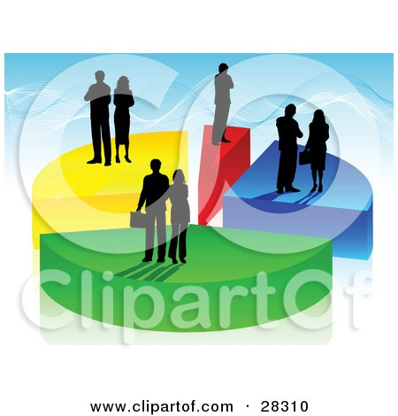 Clipart Illustration of Black Silhouetted Business Men And Women Standing On Colorful Pieces Of A Pie Chart, Over A Blue Background by KJ Pargeter