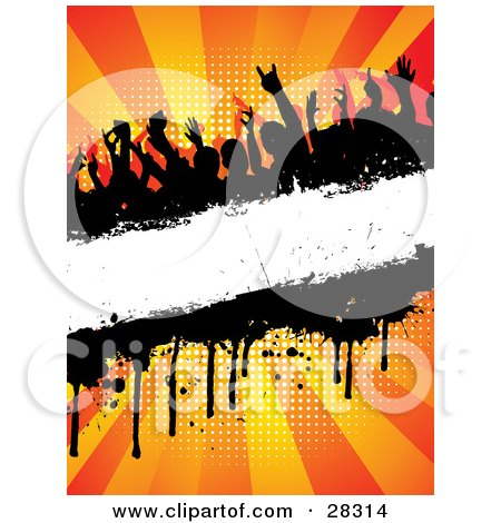 Clipart Illustration of a Silhouetted Crowd At A Party, Dancing Over A Blank White Text Bar With Dripping Grunge, Over A Bursting Orange Background by KJ Pargeter