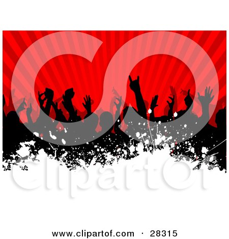 Clipart Illustration of a Silhouetted Black Audience Waving Their Arms In The Air Over A Bursting Red Background With White Grunge Along The Bottom by KJ Pargeter