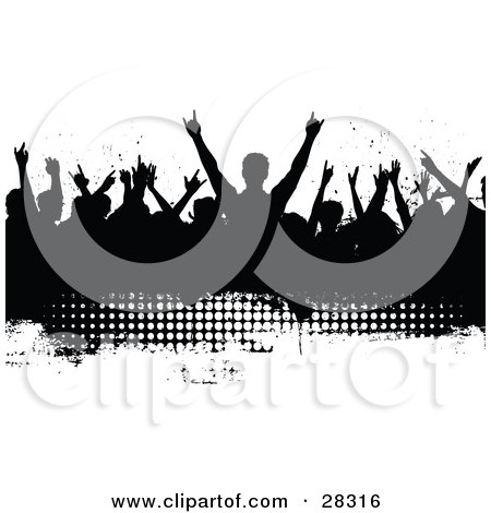 Clipart Illustration of a Silhouetted Black Audience Waving Their Arms In The Air On A Black Grunge Text Box With White Dots And A White Background by KJ Pargeter
