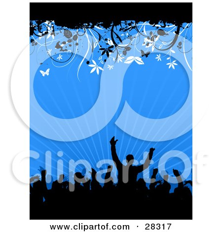 Clipart Illustration Of A Black Silhouetted Party Crowd With Their Arms In The Air Dancing Over A Bursting Blue Background With White And Black Butterflies And Vines