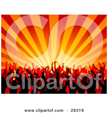 Clipart Illustration of a Silhouetted Black And Orange Crowd Dancing Over A Bursting Orange And Yellow Background by KJ Pargeter
