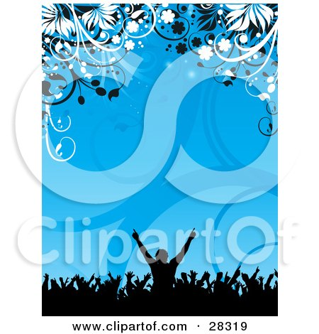 Clipart Illustration of a Black Silhouetted Party Crowd With Their Arms In The Air, Over A Blue Background Of Vines And Flowers by KJ Pargeter