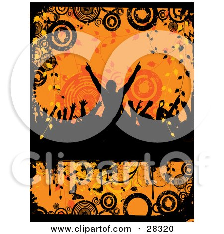 Clipart Illustration of a Silhouetted Crowd Dancing With Their Arms In The Air, Over An Orange Grunge Background Of Circles, Vines And Butterflies by KJ Pargeter