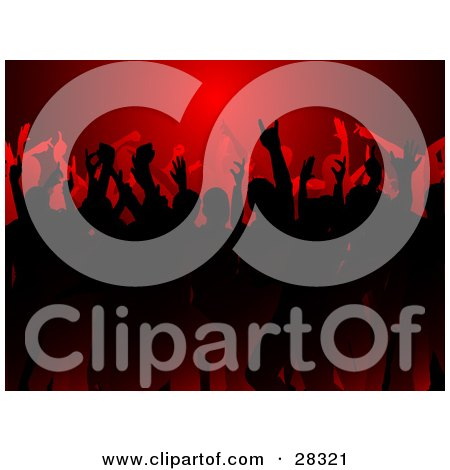 Clipart Illustration of a Silhouetted Black And Red Crowd Dancing At A Party, Under Red Light by KJ Pargeter