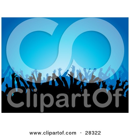Clipart Illustration of Silhouetted People Waving Their Arms In The Air At A Concert, Over A Blue Background by KJ Pargeter