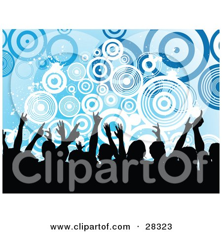 Clipart Illustration of a Silhouetted Black Audience Waving Their Arms In The Air Over A Blue Background With White And Blue Circles And Splatters by KJ Pargeter