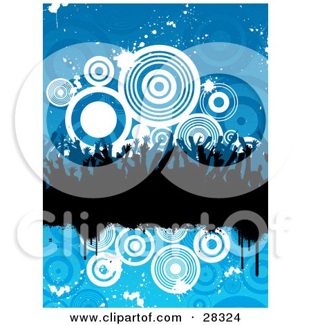 Clipart Illustration of a Silhouetted Black Party Crowd On A Black Grunge Text Bar Over A Blue Background Of White Splatters And Circles by KJ Pargeter