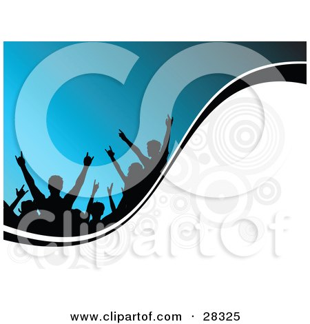 Clipart Illustration Of Black Silhouetted People In An Audience Holding Their Arms Up Over A Blue Background On A White Wave With Circles And A Black Line
