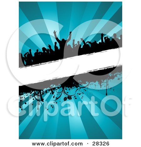 Clipart Illustration of a Silhouetted Crowd At A Party, Dancing Over A Blank White Text Bar With Dripping Grunge And Vines, Over A Bursting Blue Background by KJ Pargeter