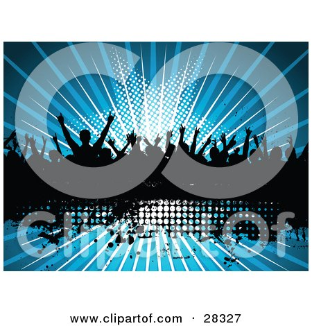 Clipart Illustration Of A Silhouetted Crowd Of People Dancing Over A Black Text Box With A Bursting Blue Star Background