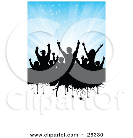 Clipart Illustration Of A Silhouetted Black Audience On A Dripping Black Grunge Text Bar With A Divided Blue Background With Bursting Stars And A White Section