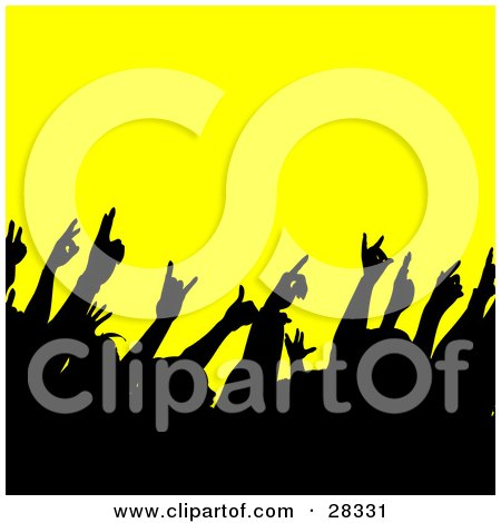 Clipart Illustration of a Black Silhouetted Crowd Waving Their Hands In The Air At A Concert, Over Yellow by KJ Pargeter