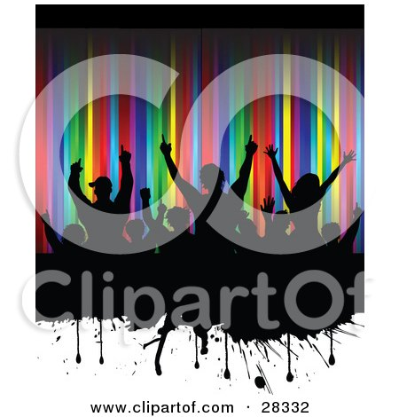Clipart Illustration of a Silhouetted Black Audience Waving Their Arms In The Air On A Dripping Black Grunge Text Box Over A White And Colorful Rainbow Background by KJ Pargeter