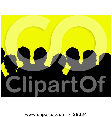 Clipart Illustration of a Black Silhouetted Audience Over Yellow by KJ Pargeter