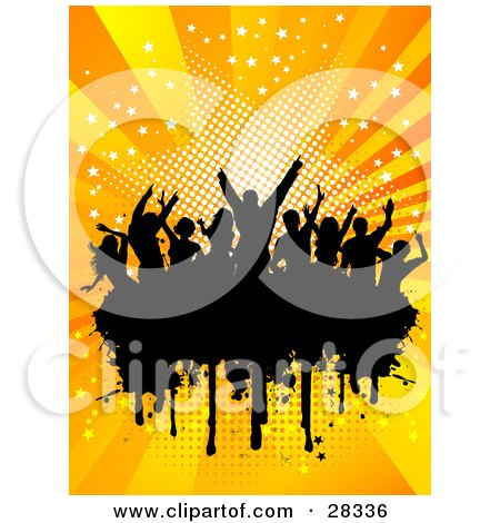 Clipart Illustration of a Silhouetted Crowd Of People Dancing Over A Black Text Box, With A Bursting Orange Starry Background by KJ Pargeter