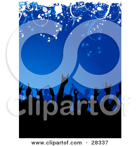 Clipart Illustration of a Black Silhouetted Party Crowd With Their Arms In The Air, Over A Blue Bursting Background With White Vines At The Top by KJ Pargeter