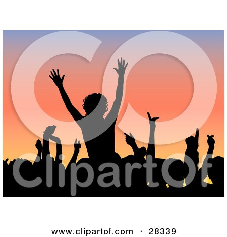 Clipart Illustration of a Silhouetted Black Audience Waving Their Arms In The Air Over A Gradient Blue And Pink Background by KJ Pargeter