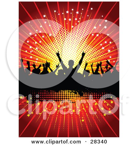 Clipart Illustration of a Silhouetted Crowd Of People Dancing Over A Black Text Box, With A Bursting Red Starry Background by KJ Pargeter