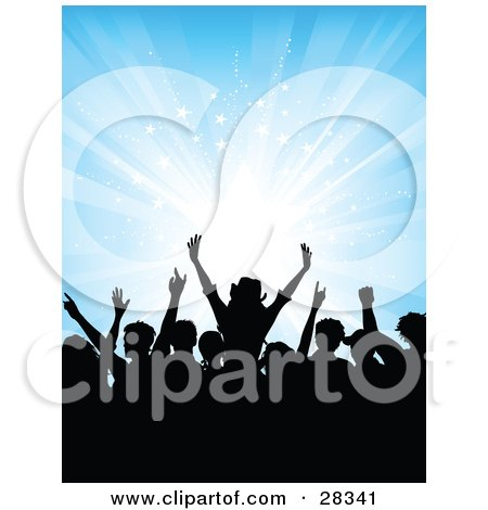 Clipart Illustration Of Black Silhouetted Audience Dancing Over A Bursting Blue Background With White Stars