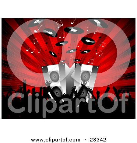 Clipart Illustration Of A Black Silhouetted Audience Waving Their Arms In Front Of Speakers On Stage Blaring Out Music Notes And Records Over A Bursting Red Background