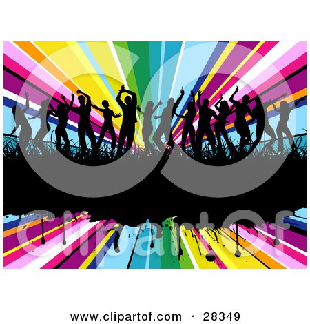 Clipart Illustration of Fourteen Black Silhouetted Dancers In Grass On A Black Grunge Text Bar Over A Bursting Rainbow Background by KJ Pargeter