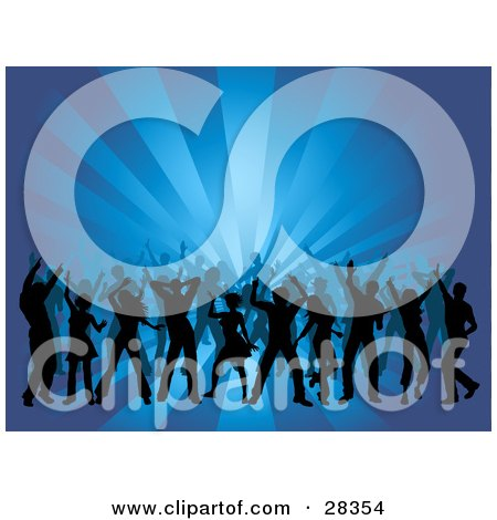 Clipart Illustration of a Crowd Of Black Dancers Silhouetted Over A Bursting Blue Background by KJ Pargeter