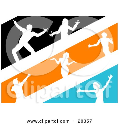 Clipart Illustration of White Silhouetted Dancers In Black, Orange And Blue Stripes by KJ Pargeter