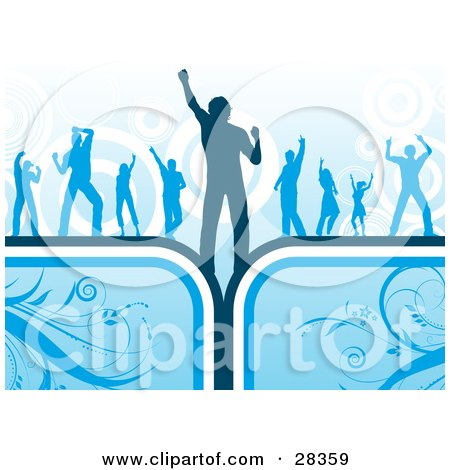 Clipart Illustration of a Group Of Dancers, Silhouetted Over A Circle Background On Blue Floral Boxes by KJ Pargeter