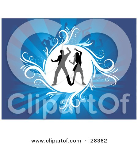 Clipart Illustration of a Dancing Couple Silhouetted In A White Circle Over A Bursting Blue Background by KJ Pargeter