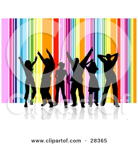 Clipart Illustration of a Group Of Six Black Silhouetted Dancers Over A Vertical Rainbow Background by KJ Pargeter