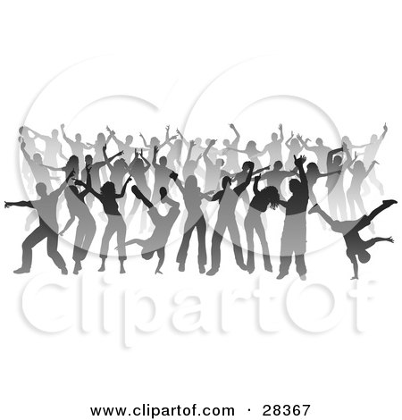 Clipart Illustration of a Party Of Gray Silhouetted Dancers Over White by KJ Pargeter