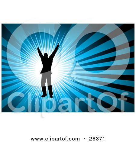 Clipart Illustration of a Black Silhouetted Dancer Over A Burst Of White Light On A Blue Background by KJ Pargeter