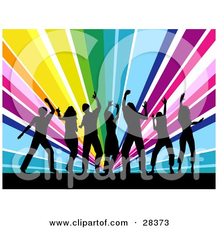 Clipart Illustration of Seven Black Silhouetted Dancers Partying Over A Bursting Rainbow Background by KJ Pargeter